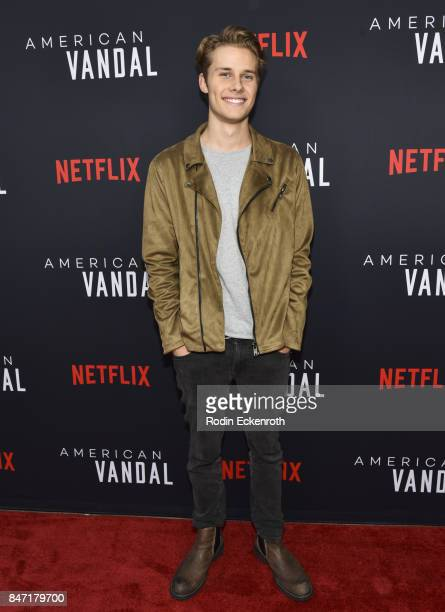 Actor Liam C Johnson attends the premiere of Netflix's American Vandal at ArcLight Hollywood on September 14 2017 in Hollywood California