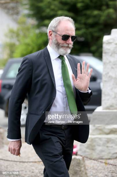Actor Liam Cunningham arrives at Rayne Church Kirkton of Rayne in Aberdeenshire for the wedding ceremony of Game Of Thrones stars Kit Harington and...
