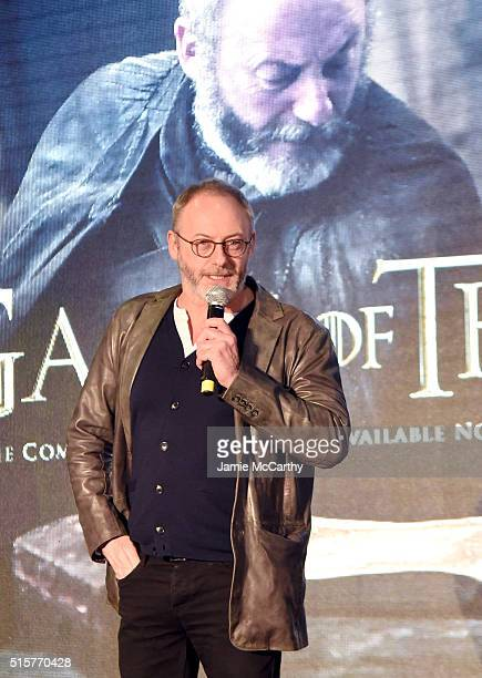 Actor Liam Cunningham speaks onstage during Game of Thrones The Complete Fifth Season DVD/BluRay Fan Screening at Herald Square on March 15 2016 in...