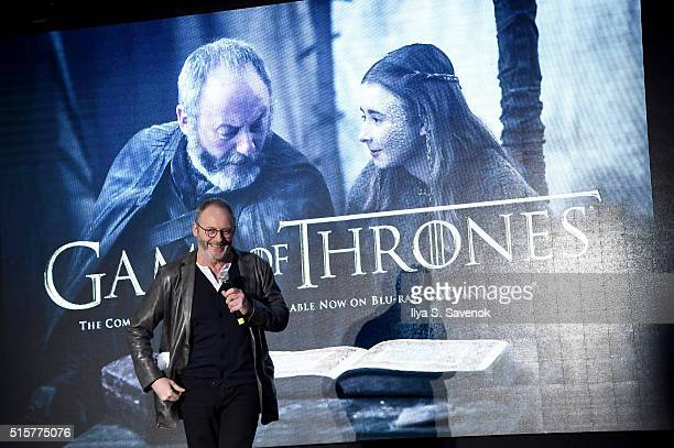 Actor Liam Cunningham speaks onstage during 'Game of Thrones' The Complete Fifth Season DVD/BluRay Fan Screening at Herald Square on March 15 2016 in...