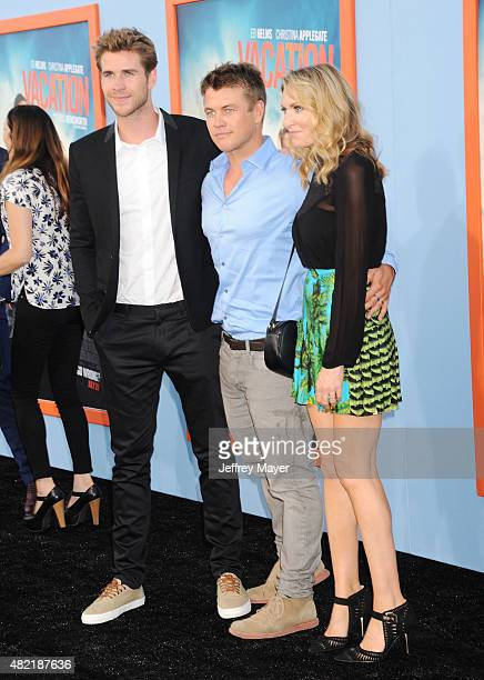 Actor Liam Hemsworth, actor/brother Luke Hemsworth and his wife Samantha Hemsworth arrive at the Premiere Of Warner Bros. 'Vacation' at Regency...