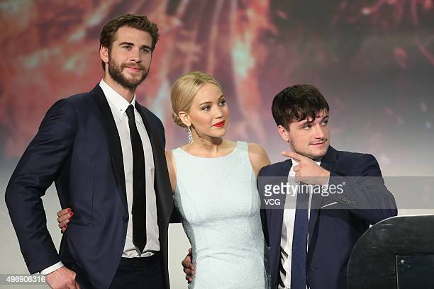 Actor Liam Hemsworth actress Jennifer Lawrence and actor Josh Hutcherson attend 'Los Juegos Del Hambre Sinsajo Part 2' premiere at the Solana on...
