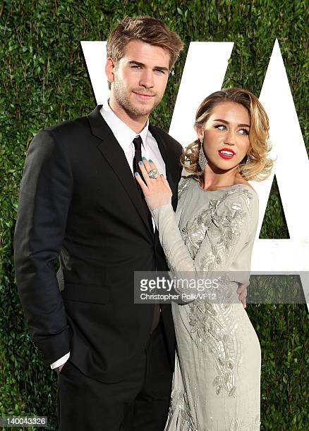 Actor Liam Hemsworth and actress/singer Miley Cyrus attend the 2012 Vanity Fair Oscar Party Hosted By Graydon Carter at Sunset Tower on February 26...