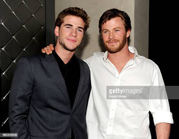 """Actor Liam Hemsworth and his brother Chris Hemsworth arrive at the afterparty for the premiere of Touchstone Pictures' """"The Last Song"""" at The W Hotel..."""