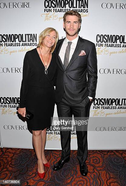 Actor Liam Hemsworth and his mother, Leonie Hemsworth attend the Cosmopolitan Fun Fearless Men and Women of 2012 at the Mandarin Oriental Ballroom on...