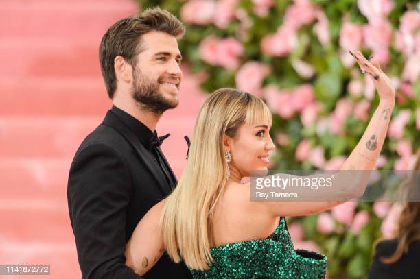 Actor Liam Hemsworth and singer Miley Cyrus attend The 2019 Met Gala Celebrating Camp Notes on Fashion at Metropolitan Museum of Art on May 6 2019 in...