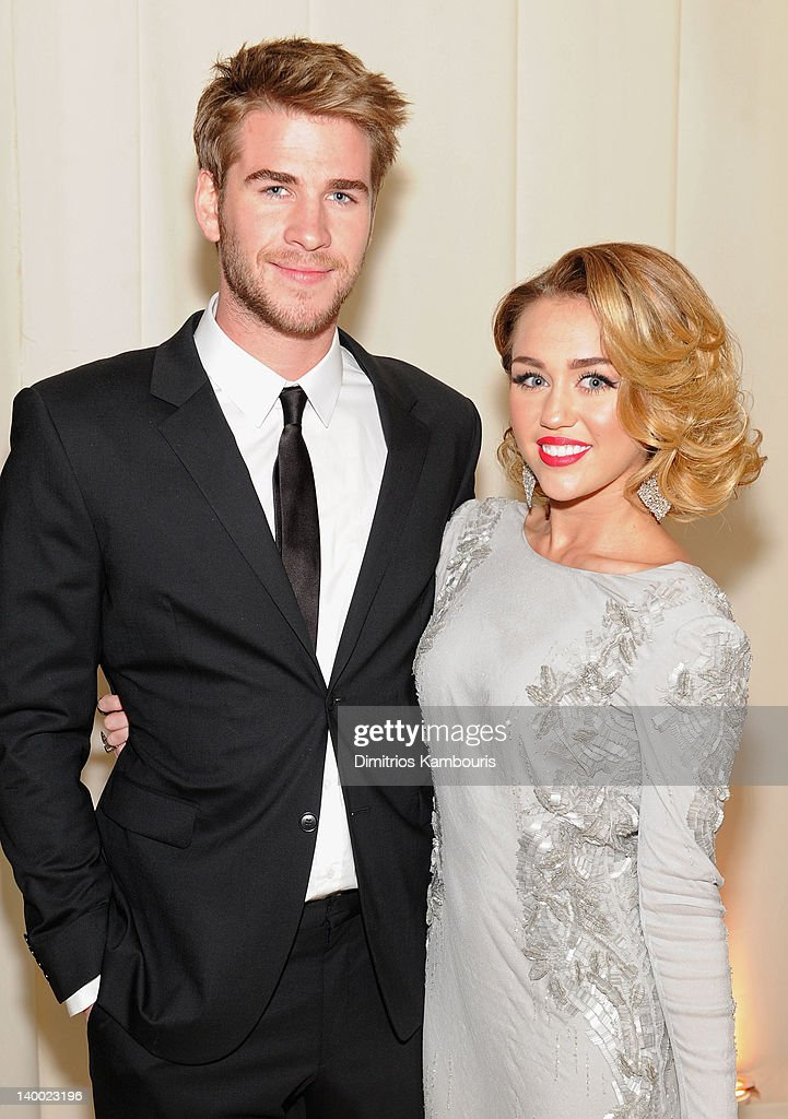 Actor Liam Hemsworth and Singer Miley Cyrus attends the 20th Annual Elton John AIDS Foundation Academy Awards Viewing Party at The City of West Hollywood Park on February 26, 2012 in Beverly Hills, California.