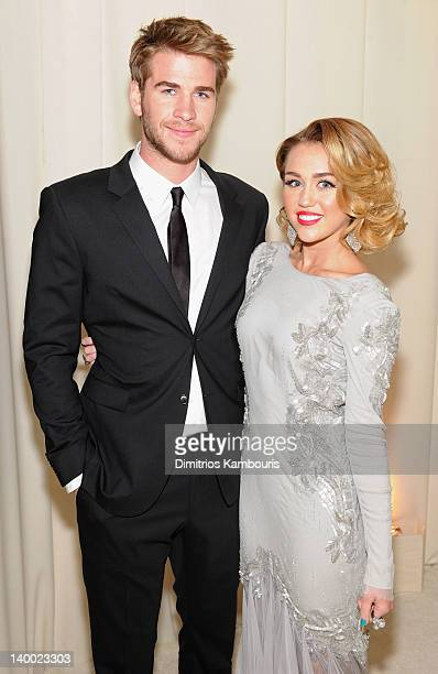 Actor Liam Hemsworth and Singer Miley Cyrus attends the 20th Annual Elton John AIDS Foundation Academy Awards Viewing Party at The City of West...