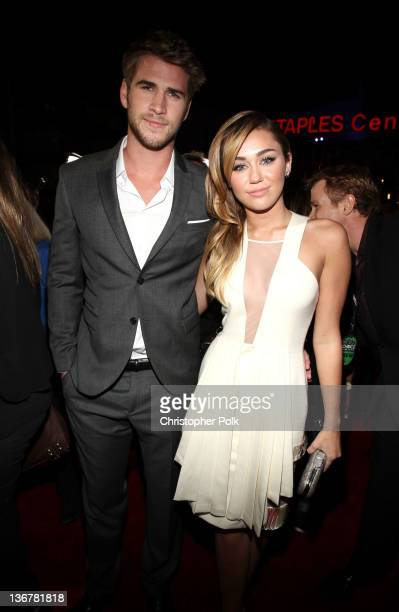 Actor Liam Hemsworth and singer/actress Miley Cyrus arrive at the 2012 People's Choice Awards at Nokia Theatre LA Live on January 11 2012 in Los...