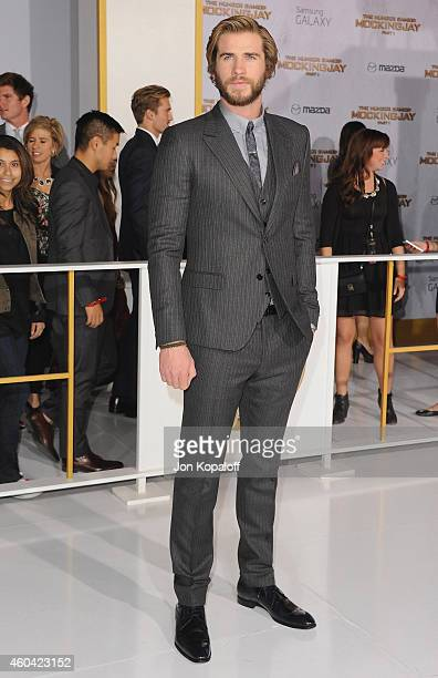 Actor Liam Hemsworth arrives at the Los Angele Premiere The Hunger Games Mockingjay Part 1 at Nokia Theatre LA Live on November 17 2014 in Los...