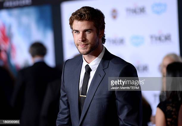 Actor Liam Hemsworth arrives at the premiere of Marvel's Thor The Dark World at the El Capitan Theatre on November 4 2013 in Hollywood California