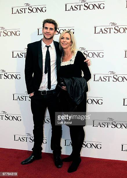 Actor Liam Hemsworth arrives with mother Leonie to the Australian premiere of The Last Song at the Village Jam Factory on March 17 2010 in Melbourne...