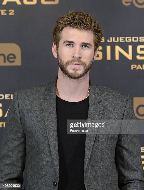 Actor Liam Hemsworth attends a photocall for 'The Hunger Games Mockingjay Part 2' at the Villamagna Hotel on November 10 2015 in Madrid Spain