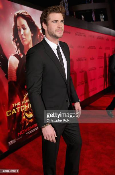 Actor Liam Hemsworth attends premiere of Lionsgate's The Hunger Games Catching Fire Red Carpet at Nokia Theatre LA Live on November 18 2013 in Los...
