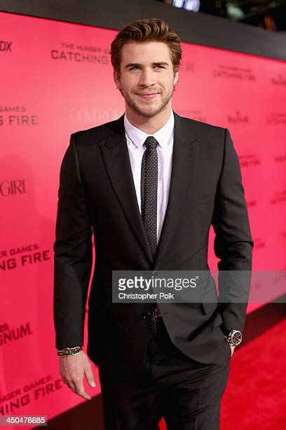 Actor Liam Hemsworth attends premiere of Lionsgate's 'The Hunger Games Catching Fire' Red Carpet at Nokia Theatre LA Live on November 18 2013 in Los...