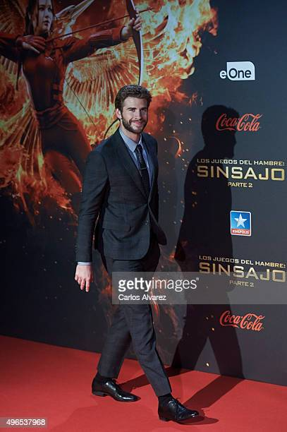 Actor Liam Hemsworth attends The Hunger Games Mockingjay Part 2 premiere at the Kinepolis Cinema on November 10 2015 in Madrid Spain