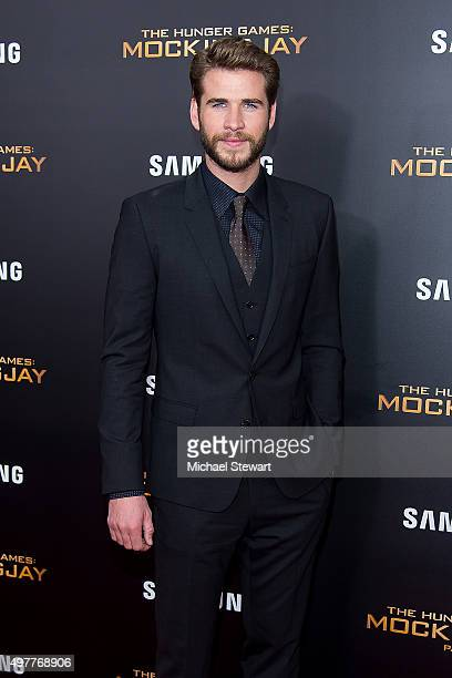 Actor Liam Hemsworth attends 'The Hunger Games Mockingjay Part 2' New York premiere at AMC Loews Lincoln Square 13 theater on November 18 2015 in New...