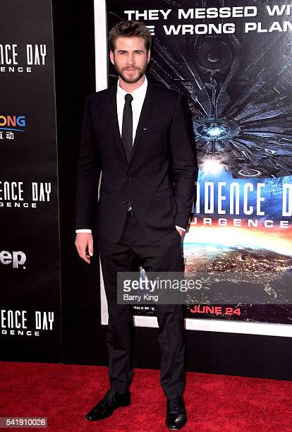 Actor Liam Hemsworth attends the premiere of 20th Century Fox's' 'Independence Day Resurgence' at TCL Chinese Theatre on June 20 2016 in Hollywood...