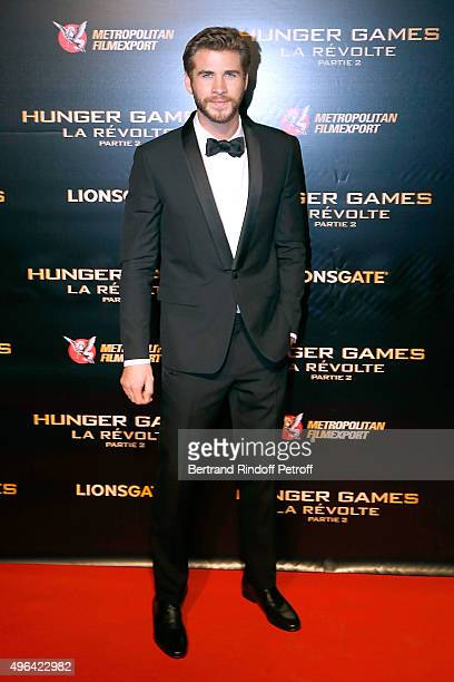 Actor Liam Hemsworth attends the 'The Hunger Games Mockingjay Part 2' Paris Premiere at Le Grand Rex on November 9 2015 in Paris France