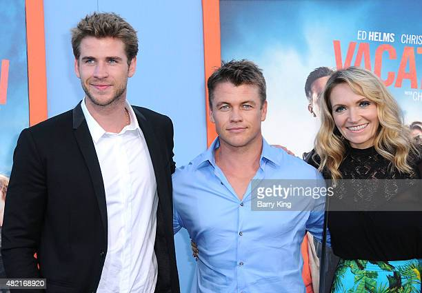 Actor Liam Hemsworth, brother/actor Luke Hemsworth and his wife Samantha Hemsworth arrive at the Premiere Of Warner Bros. 'Vacation' at Regency...