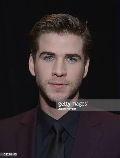Actor Liam Hemsworth poses backstage at the 39th Annual People's Choice Awards at Nokia Theatre LA Live on January 9 2013 in Los Angeles California