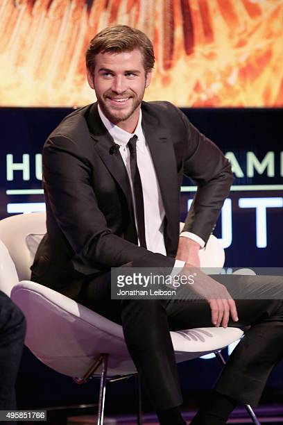 Actor Liam Hemsworth speaks onstage during the Hunger Games Tribute Event Powered By Samsung at the Samsung Studio LA on October 31 2015 in Los...