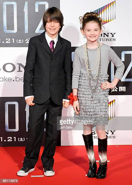 Actor Liam James and Actress Morgan Lily attend 2012 Japan Premiere at Roppongi Hills Arena on November 17 2009 in Tokyo Japan The film will open on...
