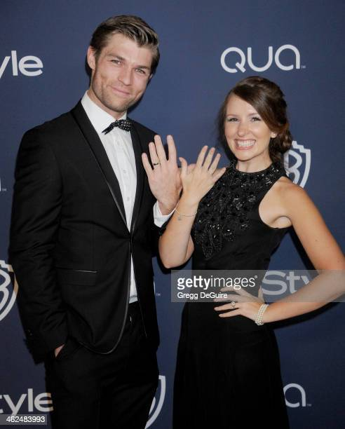 Actor Liam McIntyre and Erin Hasan arrive at the 2014 InStyle And Warner Bros 71st Annual Golden Globe Awards postparty at The Beverly Hilton Hotel...