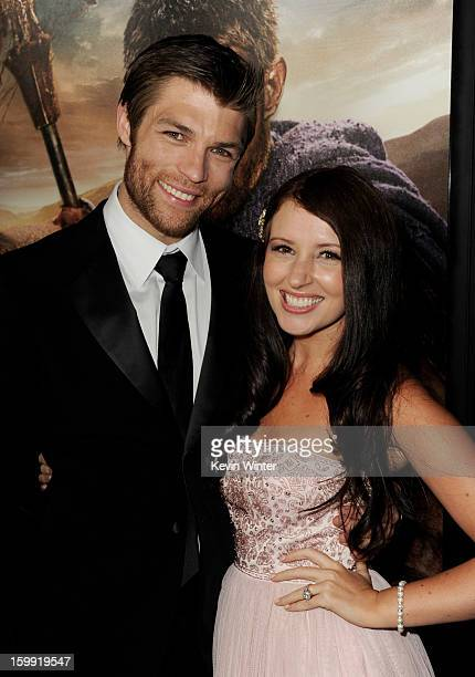 Actor Liam McIntyre and his fiance Erin Hasan arrive at the premiere of Starz's Spartacus War Of The Damned at the Regal Cinemas LA Live on January...