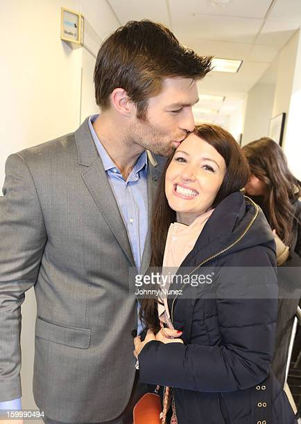 Actor Liam McIntyre and singer Erin Hasan visit at SiriusXM Studios on January 24 2013 in New York City