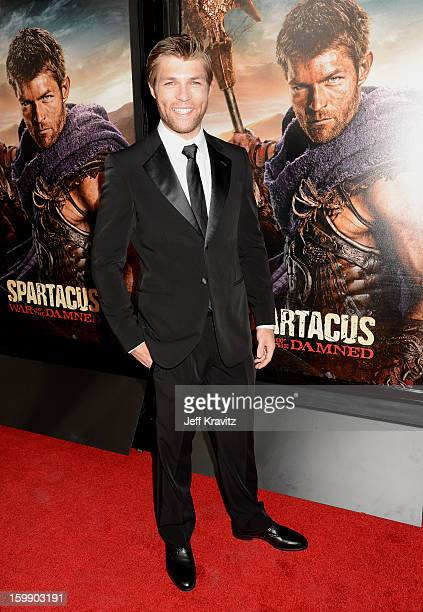 Actor Liam McIntyre attends the Spartacus War Of The Damned premiere at Regal Cinemas LA LIVE Stadium 14 on January 22 2013 in Los Angeles California