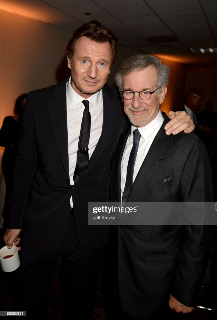Actor Liam Neeson (L) and USC Shoah Foundation Honorary Chair Steven Spielberg attend USC Shoah Foundation's 20th Anniversary Gala at the Hyatt Regency Century Plaza on May 7, 2014 in Century City, California.