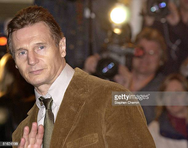Actor Liam Neeson arrives at the Christopher Reeve memorial service October 29 2004 in New York City The tribute was held at the Julliard School...