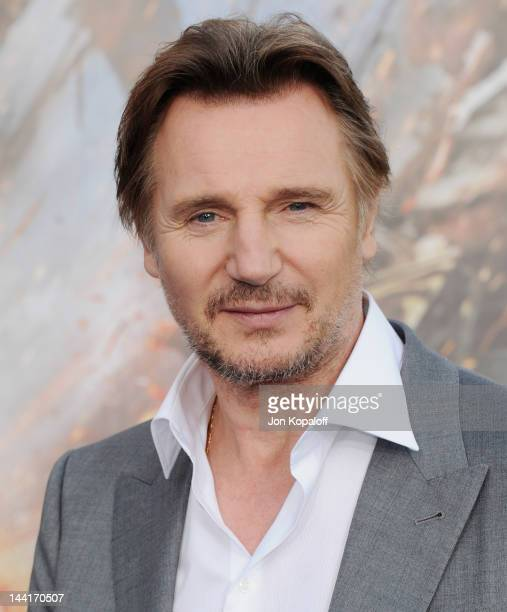 Actor Liam Neeson arrives at the Los Angeles Premiere 'Battleship' at the Nokia Theatre LA Live on May 10 2012 in Los Angeles California