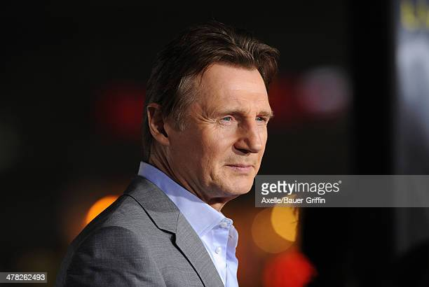 Actor Liam Neeson arrives at the Los Angeles premiere of 'NonStop' at Regency Village Theatre on February 24 2014 in Westwood California