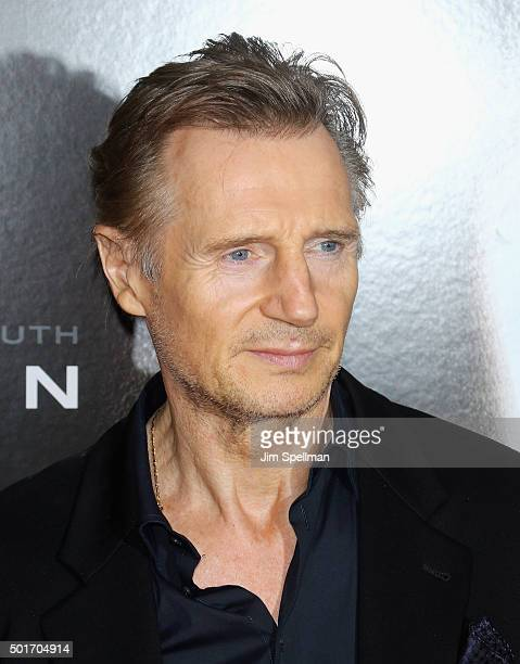 Actor Liam Neeson attends the 'Concussion' New York premiere at AMC Loews Lincoln Square on December 16 2015 in New York City
