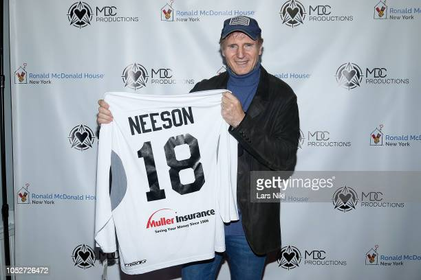 Actor Liam Neeson attends the MDC Productions 2018 Face Off to Fight Cancer charity hockey event to benefit Ronald McDonald House New York at the...