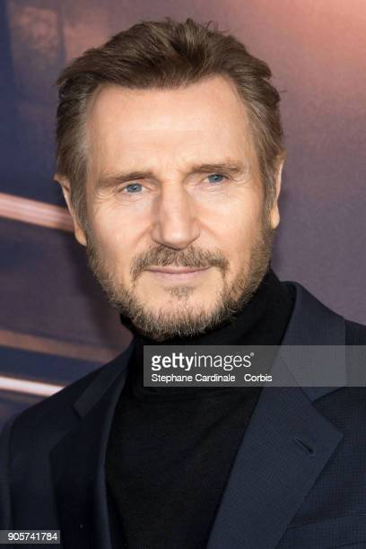 Actor Liam Neeson attends 'The Passenger' Paris Premiere at Cinema UGC Normandie on January 16 2018 in Paris France
