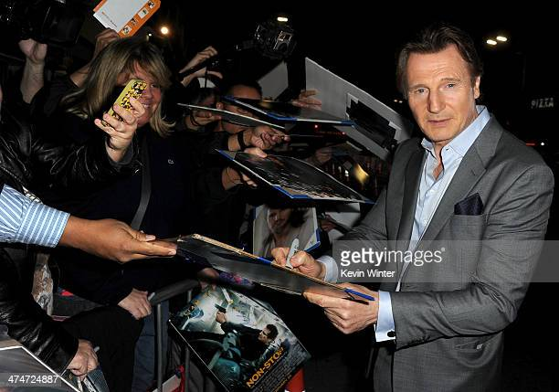 Actor Liam Neeson attends the premiere of Universal Pictures and Studiocanal's 'NonStop' at Regency Village Theatre on February 24 2014 in Westwood...
