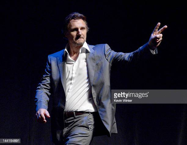 Actor Liam Neeson attends the premiere of Universal Pictures' 'Battleship' at Nokia Theatre LA Live on May 10 2012 in Los Angeles California