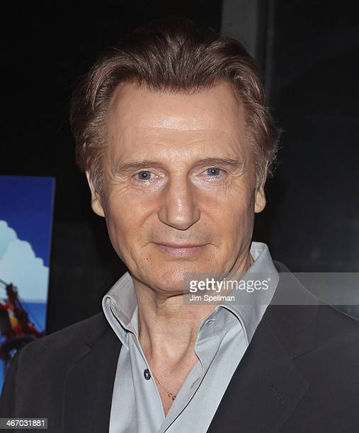 Actor Liam Neeson attends the Warner Bros Pictures and Village Roadshow Pictures screening of 'The LEGO Movie' at AMC Empire 25 theater on February 5...