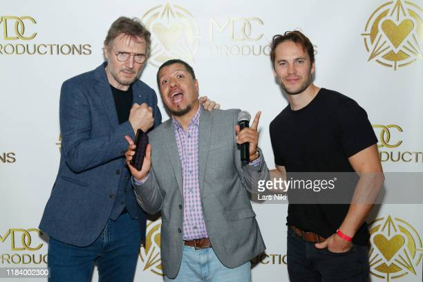 Actor Liam Neeson DJ Johnny P and actor Taylor Kitsch attend the MDC Productions' 3rd Annual Face Off to Fight Cancer at the Sky Rink at Chelsea...