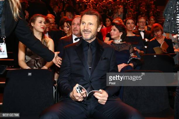 Actor Liam Neeson during the show of Goldene Kamera 2018 at Messehallen on February 22 2018 in Hamburg Germany