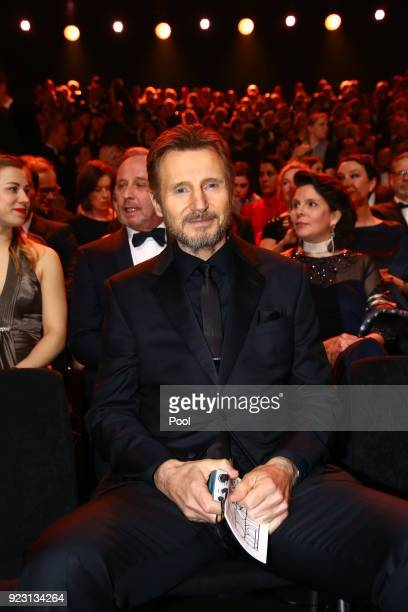 Actor Liam Neeson during the show of 'Goldene Kamera 2018' at Messehallen on February 22 2018 in Hamburg Germany