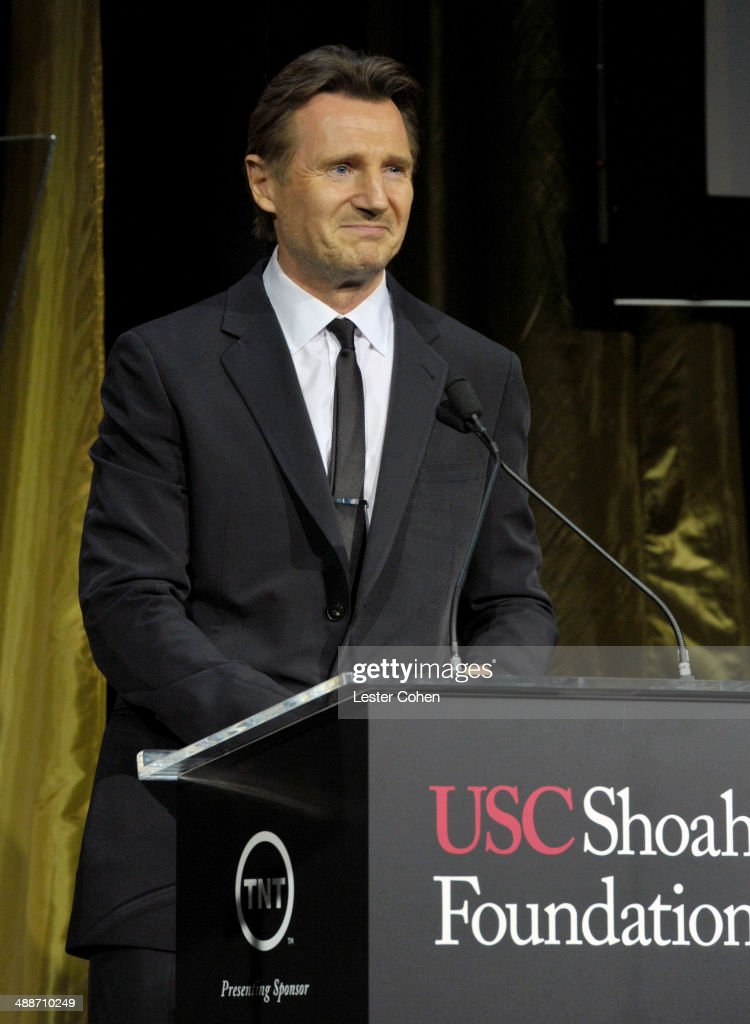 Actor Liam Neeson speaks onstage during USC Shoah Foundation's 20th Anniversary Gala at the Hyatt Regency Century Plaza on May 7, 2014 in Century City, California.