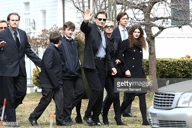 Actor Liam Neeson with family an unidentified person son Daniel Neeson son Micheal Neeson sister Joely Richardson an unidentified person and niece...