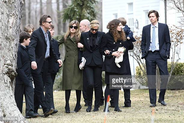 Actor Liam Neeson with family son Daniel Neeson son Micheal Neeson an unidentified person sister Joely Richardson and niece Daisy Bevan arrive for...
