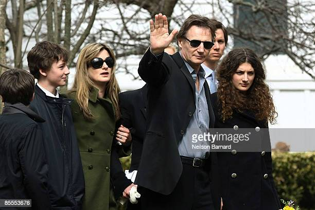 Actor Liam Neeson with family son Daniel Neeson son Micheal Neeson an unidentified person and niece Daisy Bevan arrive for the funeral of actress...