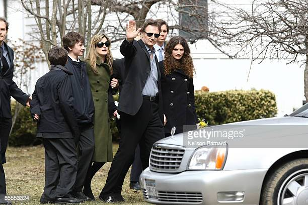 Actor Liam Neeson with family son Micheal Neeson son Daniel Neeson an unidentified woman Joely Richardson an unidentified person and niece Daisy...