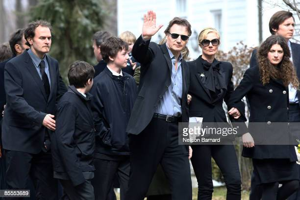 Actor Liam Neeson with screenwriter Carlo Gabriel Nero son Daniel Neeson son Micheal Neeson sister Joely Richardson and niece Daisy Bevan arrive for...